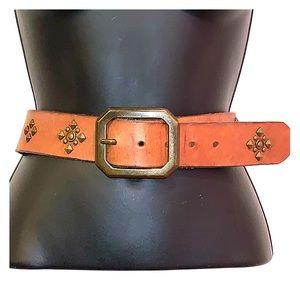 Banana Republic Genuine Leather Brown Studded Belt